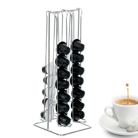Porta Cápsulas de Nespresso Suporte Para 36 unidades em Ferro Cromado 33cm Café Expresso