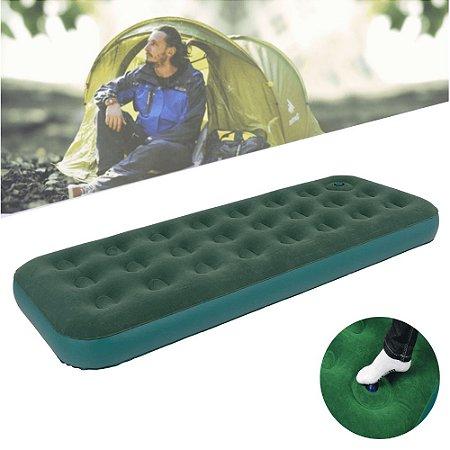 Colchão Inflável Solteiro com Inflador Embutido 191 x 75 cm em PVC Verde Dormir Camping Acampamento