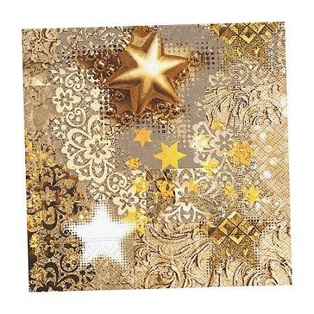 Guardanapo de Papel Decorado Estampado Natal Ano Novo Pacote com 20 unidades 33x33 cm Gold Rush Premium