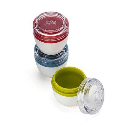 Conjunto 03 Porta Condimentos Portátil Potes Para Molho Molheiras com Tampa Hermética Joie Colorido