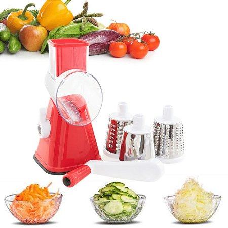 Cortador Fatiador Ralador de Legumes Frutas e Vegetais à Manivela com 3 Lâminas Intercambiáveis