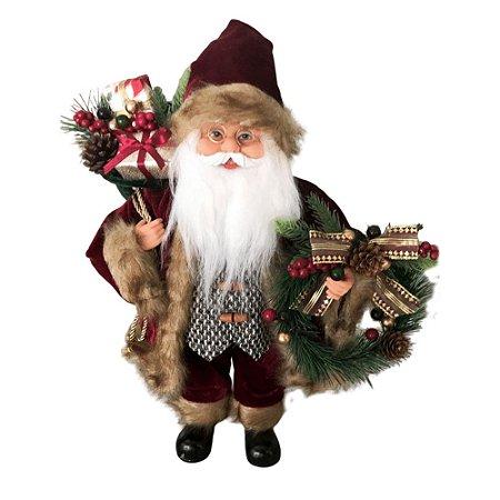 Papai Noel LUxo Roupa Vinho com Colete 41cm Decoracao Natalina Boneco Decorativo Enfeite de Natal