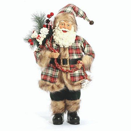 Papai Noel  Decoracao Natalina Boneco 46 cm Enfeite Luxo Xadrez Scoth Saco de Presentes Resina