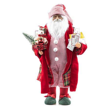 Papai Noel de Pijama Listrado Cartas 41 cm Decoracao Natalina Boneco Enfeite de Natal Presente