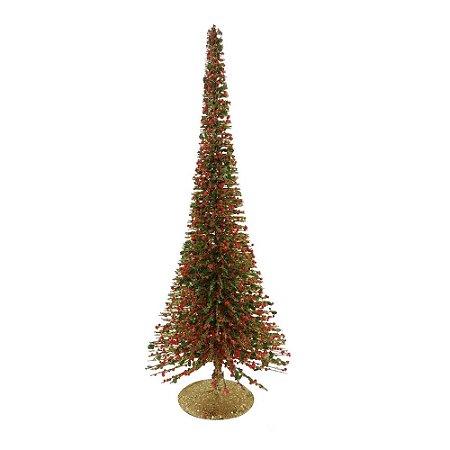 Mini Arvore de Natal Aramada Decorada Enfeite Berry Verde e Dourada Elegante Decoração