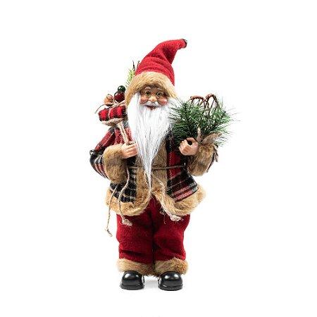 Papai Noel Decoracao Natalina Boneco Enfeite de Natal Luxo 30 cm Xadrez Vinho Presentes