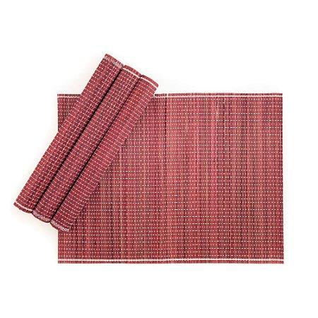 Jogo Americano em Bambu 30 x 40 cm Vinho 04 Lugares Servico de Jantar Cozinha Mesa Posta
