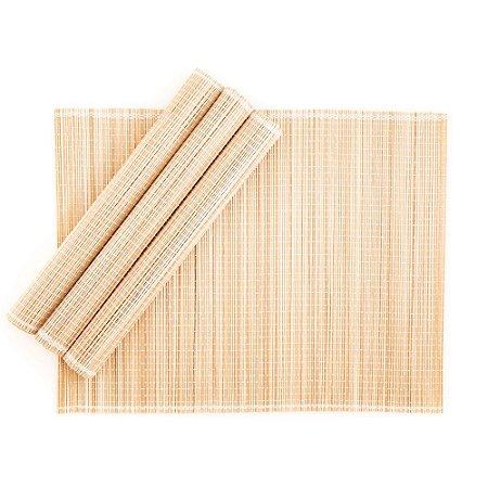 Jogo Americano em Bambu 30 x 40 cm Natural 04 Lugares Servico de Jantar Cozinha Mesa Posta
