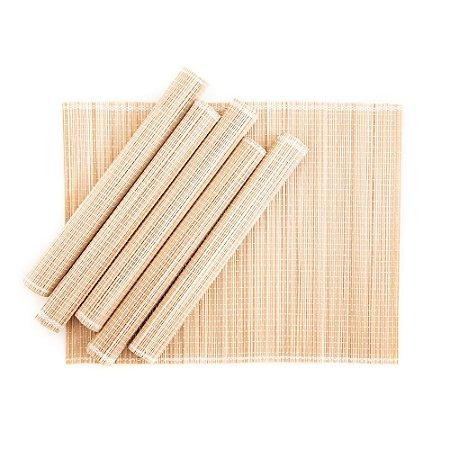 Jogo Americano em Bambu 30 x 40 cm Natural 06 Lugares Servico de Jantar Cozinha Mesa Posta
