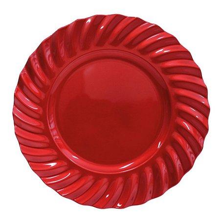 Sousplat Redondo Waves Vermelho em Polipropileno 33 cm Mesa Posta Chique