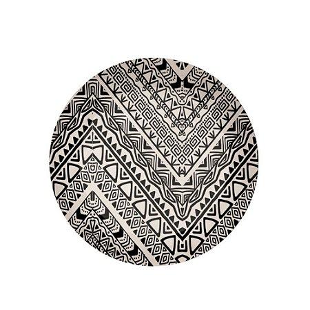 Prato Raso de Mesa Refeicao em Fibra de Bambu 25cm Material Ecologico Desenho Etnico Preto e Branco