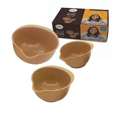 Conjunto 03 Bowls Medidores Cozinha Carol Fiorentino 150/250/400ml Confeitaria Bege Premium