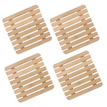 Kit 04 Descanso de Panela e Travessa Suporte Apoio Quadrado em Bambu 17 cm Mesa Posta Servir