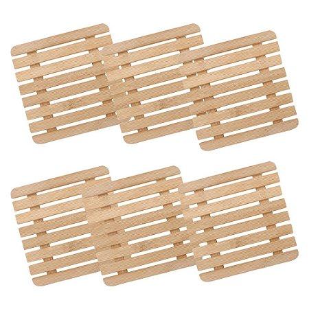 Kit 06 Descanso de Panela e Travessa Suporte Apoio Quadrado em Bambu 17 cm Mesa Posta Servir