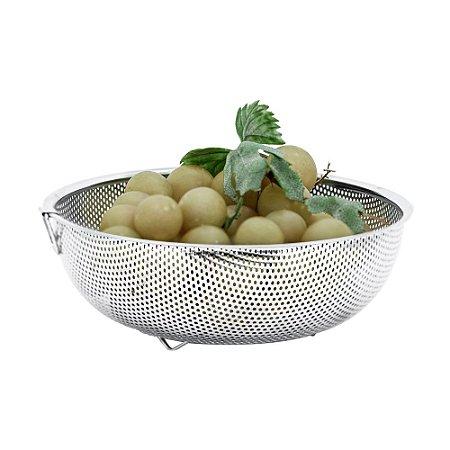 Escorredor de Macarrão em Aço Inox Multiuso 25 x 9cm Arroz Legumes Frutas Utensilio de Cozinha