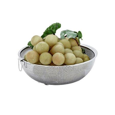 Escorredor de Macarrão em Aço Inox Multiuso 22 x 8 cm Arroz Legumes Massas Vegetais Cozinha