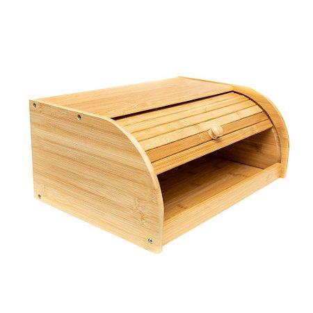 Porta Pão em Bambu Com Tampa Retratil Organizador de Cozinha 40 x 27cm Natural Premium Clássico