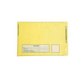 Envelope Plástico 26x36 Remetente e Destinatário Amarelo - Pct com 100 unidades