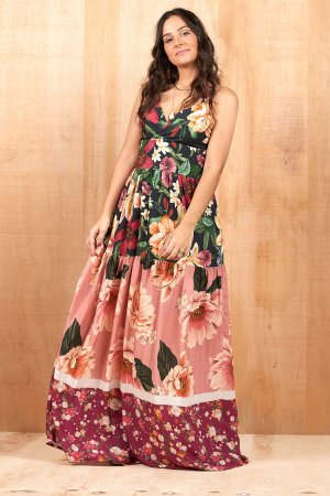 Vestido Longo Floral Patchwork