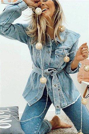 Jaqueta Jeans Maxi c/ Cinto