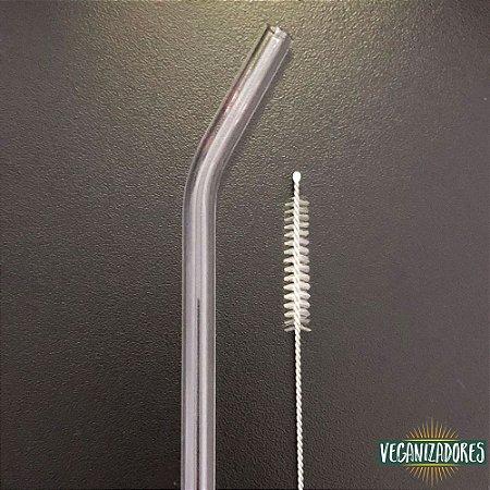Canudo de Vidro Curvo Ecológico c/ Escova de Limpeza – 21.5 cm