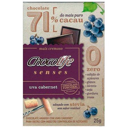 Senses 71% Cacau com Uva Cabernet 25 g – Chocolife