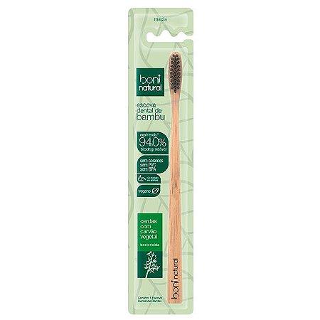 Escova Dental de Bambu Cerdas Carvão – Boni Natural