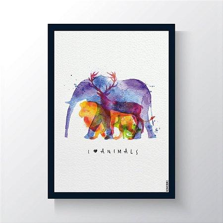 Quadro Vegano Moldura Azul - I Love Animals