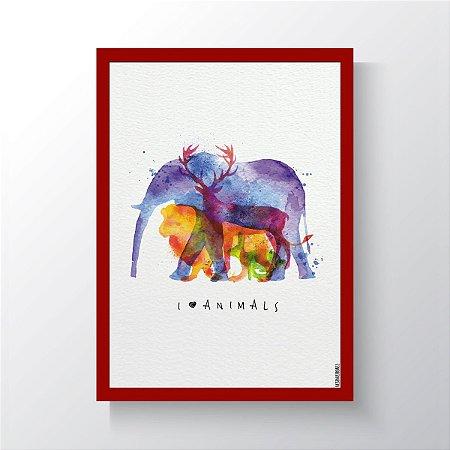 Quadro Vegano Moldura Vermelha - I Love Animals