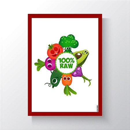 Quadro Vegano Moldura Vermelha - 100% RAW