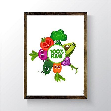 Quadro Vegano Moldura Natural - 100% RAW