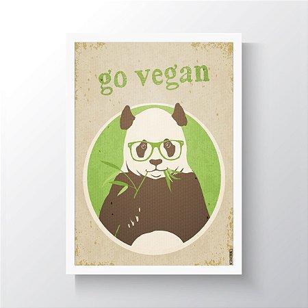 Quadro Vegano Moldura Branca - Go Vegan Panda