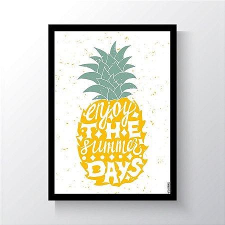 Quadro Vegano Moldura Preta - Enjoy The Summer Days