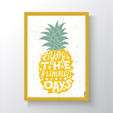 Quadro Vegano Moldura Amarela - Enjoy The Summer Days