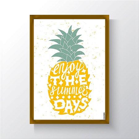 Quadro Vegano Moldura Dourada - Enjoy The Summer Days
