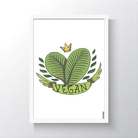 Quadro Vegano Moldura Branca - Vegan Crown