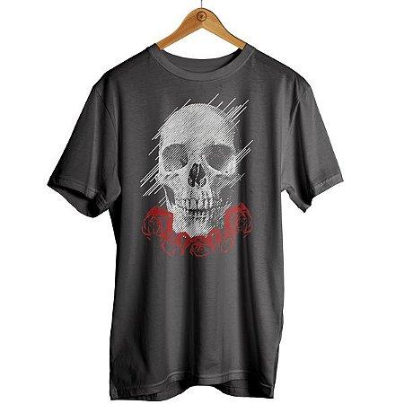 Camiseta Caveira com Rosas
