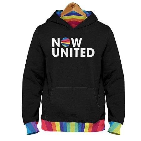 Moletom Now United - Logo Barra Colorida - Preto