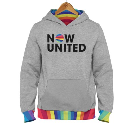 Moletom Now United Logo Barra Colorida - Cinza Mescla