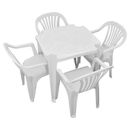 Conjunto de Mesa Plástica 70x70 com 04 Cadeiras com ou sem Braço Tropical