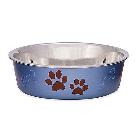 Comedouro e bebedouro em Inox Bella Bowl Metallic Blueberry - 14cm - 2329 C6