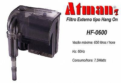 Filtro externo (Hang-on) para aquários Atman HF-0600 650l/h - 220V