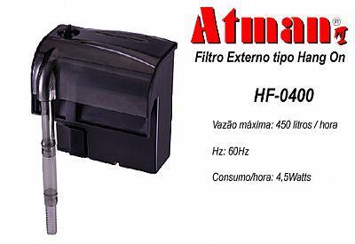 Filtro externo (Hang-on) para aquários Atman HF-0400 450l/h - 220V