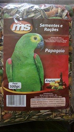 Grão natural para alimentação de Papagaios - Mistura de sementes com frutas 500g