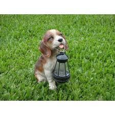 Luminária solar decorativa em formato de Cachorro com lanterna em LED