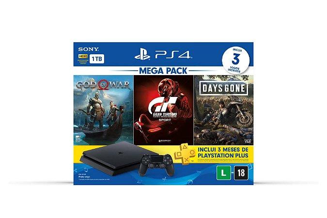 PlayStation 4 com  3 jogos clássicos e  3 meses da PS Plus