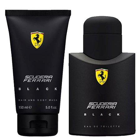 Kit Perfume Masculino Ferrari Black, Perfume 75ml + Gel De Banho 150ml