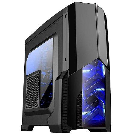 Gabinete Gamer Centauro Preto LED Azul – Mymax