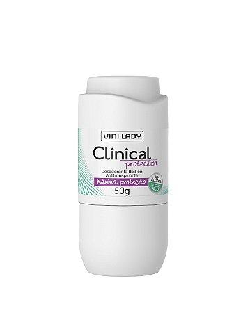 Desodorante Roll On Antitranspirante Clinical Protection, sem álcool, toque seco 50gr