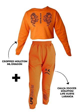 Kit Orange - Calça Jogger Life Hurts + Cropped Moletom Dragon Laranja